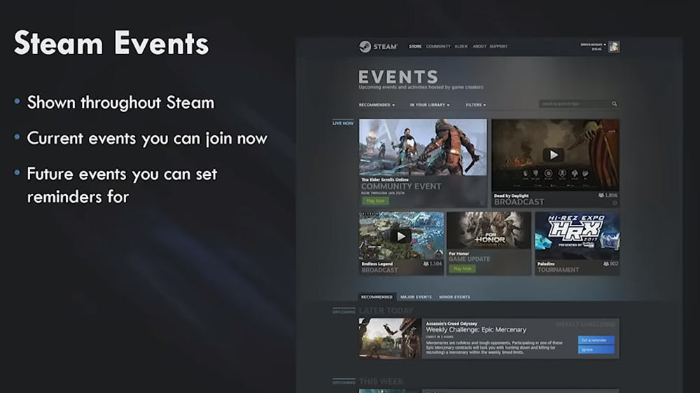 Steam Events Hom Page